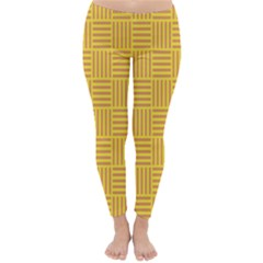 Plaid Line Orange Yellow Classic Winter Leggings