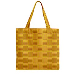 Plaid Line Orange Yellow Zipper Grocery Tote Bag by Alisyart