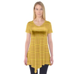 Plaid Line Orange Yellow Short Sleeve Tunic