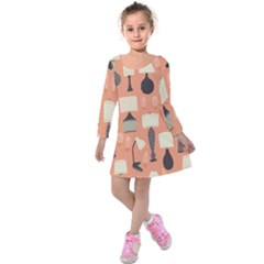 Lamps Kids  Long Sleeve Velvet Dress