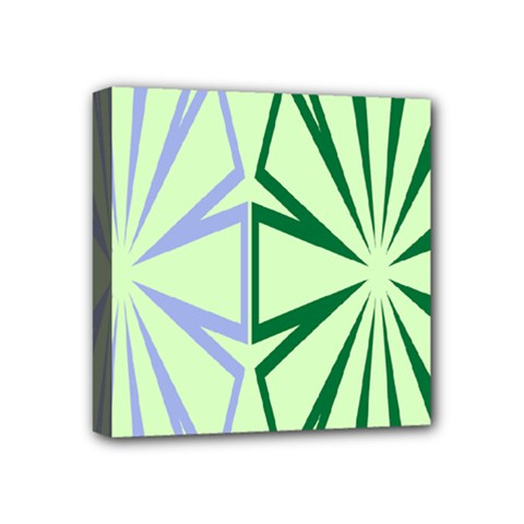 Starburst Shapes Large Green Purple Mini Canvas 4  X 4  by Alisyart