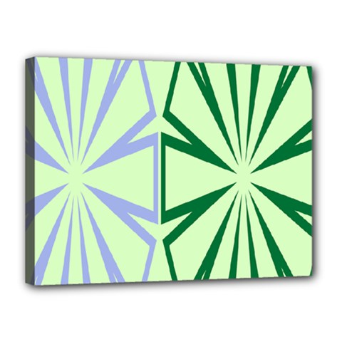 Starburst Shapes Large Green Purple Canvas 16  X 12  by Alisyart