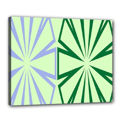 Starburst Shapes Large Green Purple Canvas 20  X 16  by Alisyart