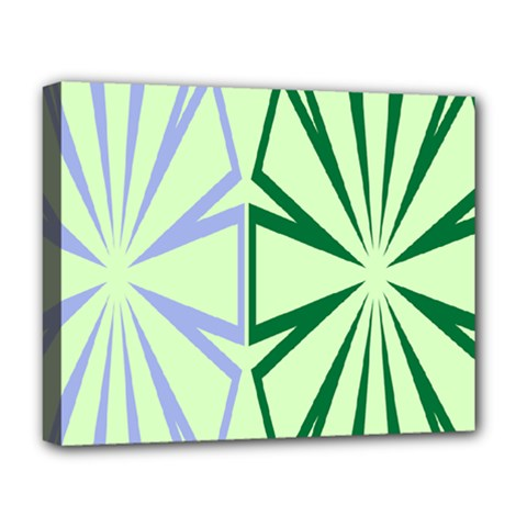 Starburst Shapes Large Green Purple Deluxe Canvas 20  X 16