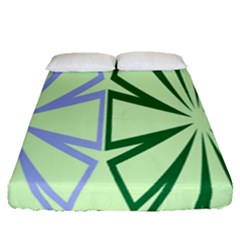 Starburst Shapes Large Green Purple Fitted Sheet (queen Size)