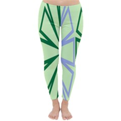 Starburst Shapes Large Green Purple Classic Winter Leggings