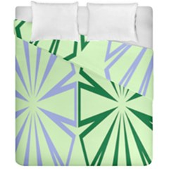 Starburst Shapes Large Green Purple Duvet Cover Double Side (california King Size) by Alisyart
