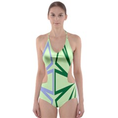 Starburst Shapes Large Green Purple Cut Out One Piece Swimsuit by Alisyart