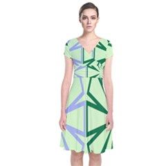 Starburst Shapes Large Green Purple Short Sleeve Front Wrap Dress