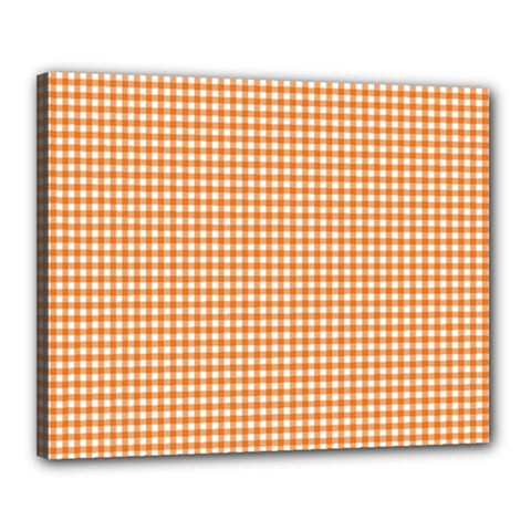 Orange Tablecloth Plaid Line Canvas 20  X 16