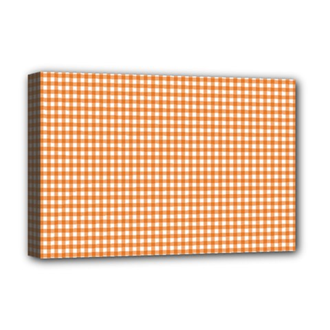 Orange Tablecloth Plaid Line Deluxe Canvas 18  X 12   by Alisyart