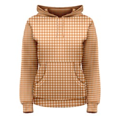 Orange Tablecloth Plaid Line Women s Pullover Hoodie