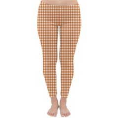 Orange Tablecloth Plaid Line Classic Winter Leggings