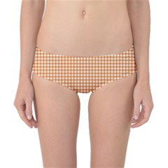 Orange Tablecloth Plaid Line Classic Bikini Bottoms by Alisyart