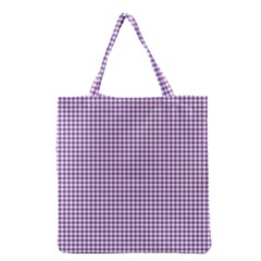 Purple Tablecloth Plaid Line Grocery Tote Bag by Alisyart