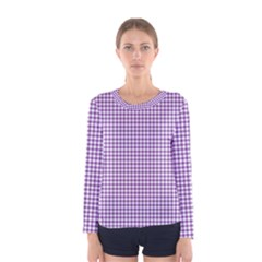 Purple Tablecloth Plaid Line Women s Long Sleeve Tee by Alisyart