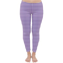 Purple Tablecloth Plaid Line Classic Winter Leggings
