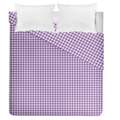 Purple Tablecloth Plaid Line Duvet Cover Double Side (queen Size) by Alisyart