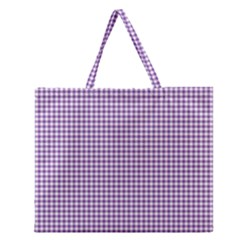Purple Tablecloth Plaid Line Zipper Large Tote Bag by Alisyart