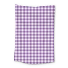 Purple Tablecloth Plaid Line Small Tapestry