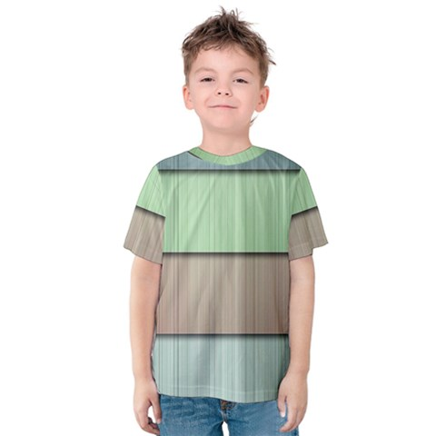Modern Texture Blue Green Red Grey Chevron Wave Line Kids  Cotton Tee by Alisyart