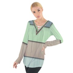 Modern Texture Blue Green Red Grey Chevron Wave Line Women s Tie Up Tee