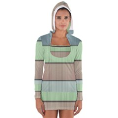 Modern Texture Blue Green Red Grey Chevron Wave Line Women s Long Sleeve Hooded T Shirt by Alisyart