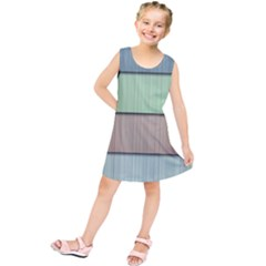 Modern Texture Blue Green Red Grey Chevron Wave Line Kids  Tunic Dress