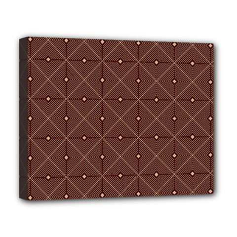 Coloured Line Squares Plaid Triangle Brown Line Chevron Deluxe Canvas 20  X 16   by Alisyart