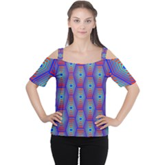 Red Blue Bee Hive Pattern Women s Cutout Shoulder Tee