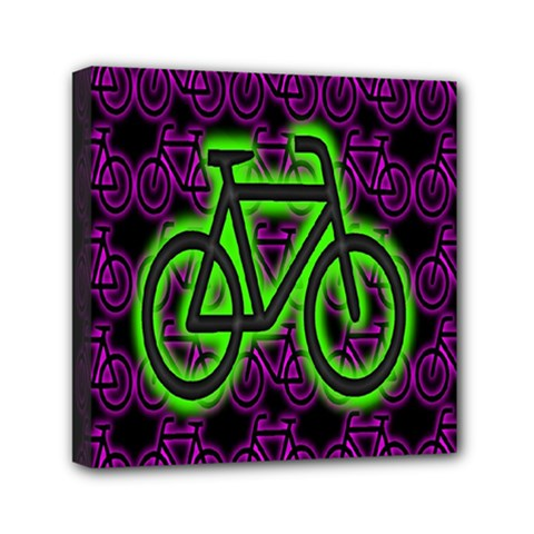 Bike Graphic Neon Colors Pink Purple Green Bicycle Light Mini Canvas 6  X 6