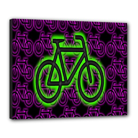 Bike Graphic Neon Colors Pink Purple Green Bicycle Light Canvas 20  X 16