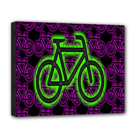 Bike Graphic Neon Colors Pink Purple Green Bicycle Light Deluxe Canvas 20  X 16