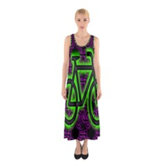 Bike Graphic Neon Colors Pink Purple Green Bicycle Light Sleeveless Maxi Dress
