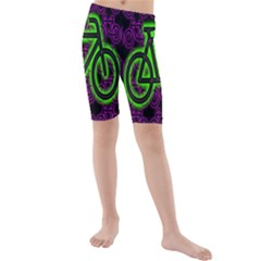 Bike Graphic Neon Colors Pink Purple Green Bicycle Light Kids  Mid Length Swim Shorts
