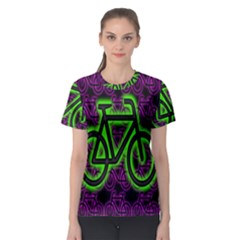 Bike Graphic Neon Colors Pink Purple Green Bicycle Light Women s Sport Mesh Tee by Alisyart