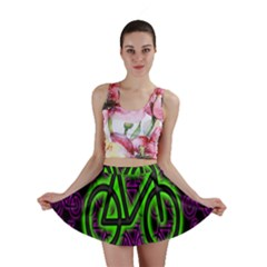 Bike Graphic Neon Colors Pink Purple Green Bicycle Light Mini Skirt by Alisyart