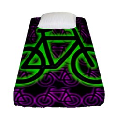 Bike Graphic Neon Colors Pink Purple Green Bicycle Light Fitted Sheet (single Size) by Alisyart