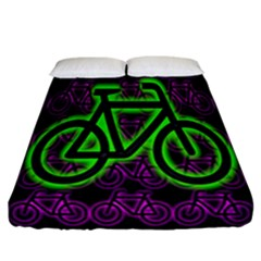 Bike Graphic Neon Colors Pink Purple Green Bicycle Light Fitted Sheet (california King Size) by Alisyart