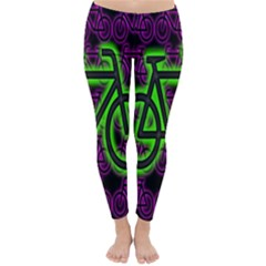 Bike Graphic Neon Colors Pink Purple Green Bicycle Light Classic Winter Leggings