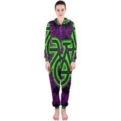 Bike Graphic Neon Colors Pink Purple Green Bicycle Light Hooded Jumpsuit (ladies)