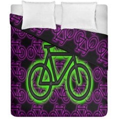 Bike Graphic Neon Colors Pink Purple Green Bicycle Light Duvet Cover Double Side (california King Size)