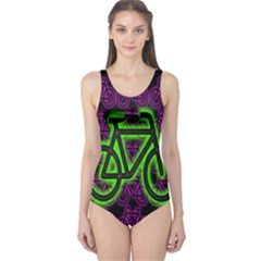 Bike Graphic Neon Colors Pink Purple Green Bicycle Light One Piece Swimsuit by Alisyart