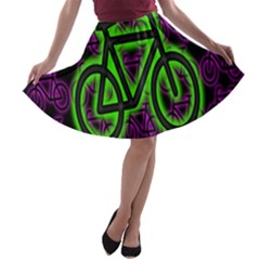 Bike Graphic Neon Colors Pink Purple Green Bicycle Light A Line Skater Skirt by Alisyart