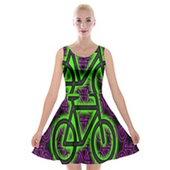 Bike Graphic Neon Colors Pink Purple Green Bicycle Light Velvet Skater Dress