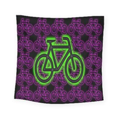 Bike Graphic Neon Colors Pink Purple Green Bicycle Light Square Tapestry (small)