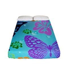 Butterfly Vector Background Fitted Sheet (full/ Double Size) by Amaryn4rt
