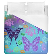 Butterfly Vector Background Duvet Cover (queen Size) by Amaryn4rt