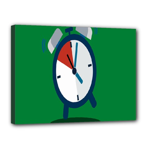 Alarm Clock Weker Time Red Blue Green Canvas 16  X 12  by Alisyart