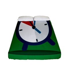 Alarm Clock Weker Time Red Blue Green Fitted Sheet (full/ Double Size)